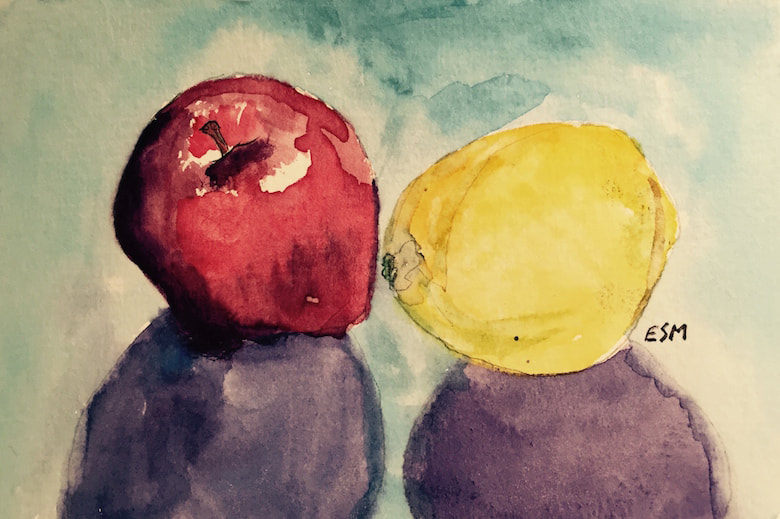 Apple and Lemon, watercolor on paper, 4 in x 6 in
