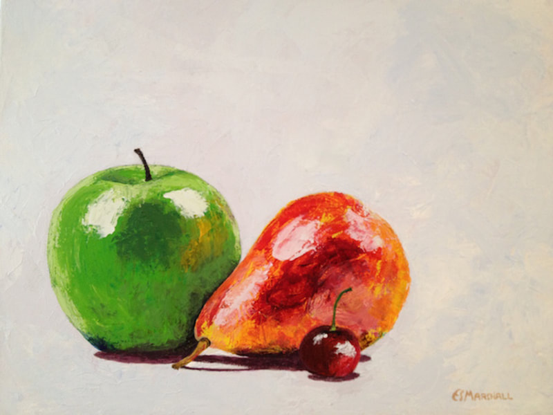 Apple, Pear and Cherry, acrylic on canvas, 16 in x 20 in