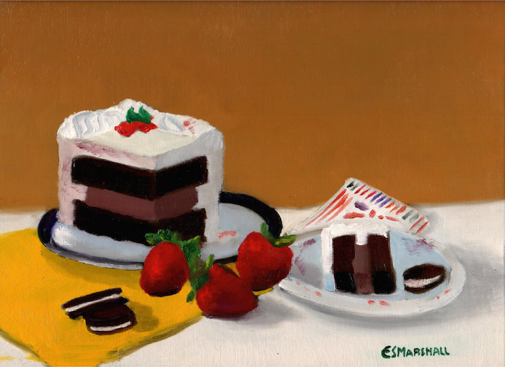 Birthday Cake, oil on canvas panel, 9 in x 12 in