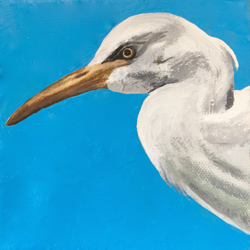 Cattle Egret, acrylic on canvas, 5 in x 5 in