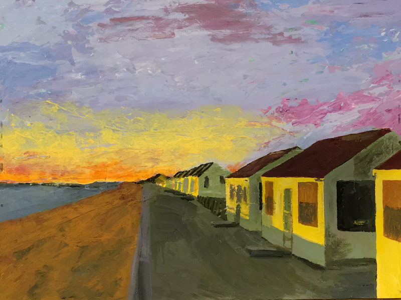 North Truro Cottages, acrylic on canvas, 9 in x 12 in