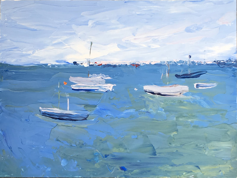 Provincetown Harbor, acrylic on Masonite, 9 in x 12 in