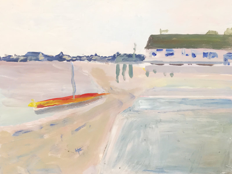 Beach at Provincetown Harbor, acrylic on Masonite, 9 in x 12 in