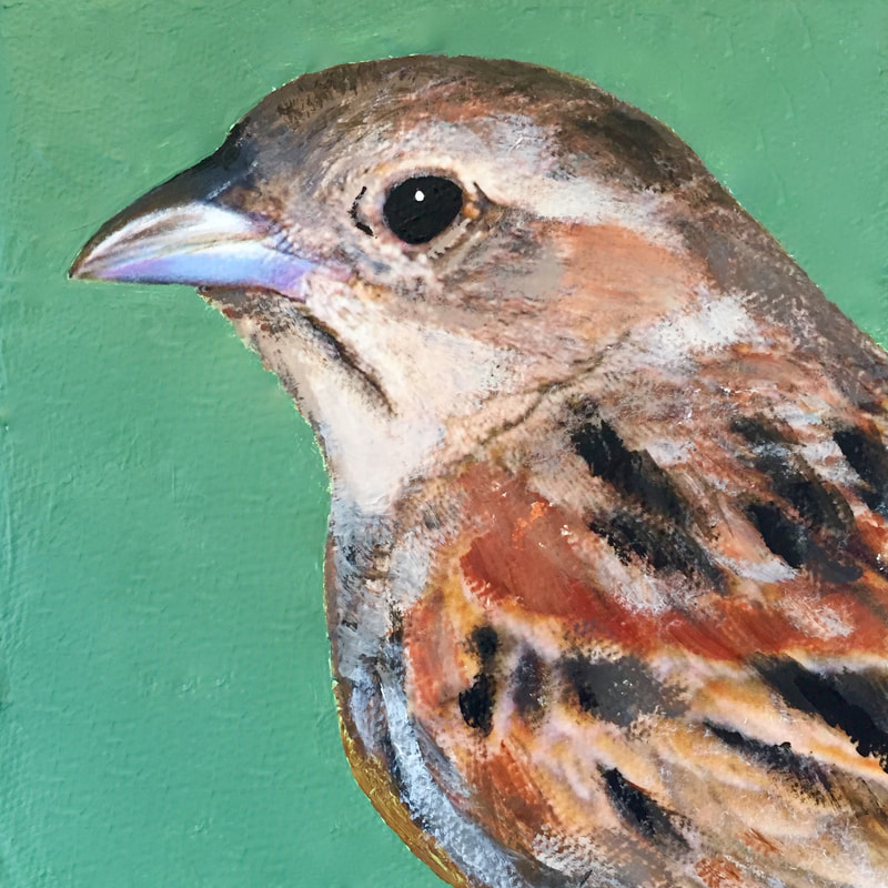 Grasshopper Sparrow, acrylic on canvas, 5 in x 5 in